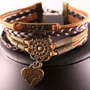 Jewelry - Brown Leather and Alloy Heart/Love Bracelet